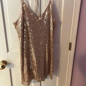 Gold Sequined Dress - Large